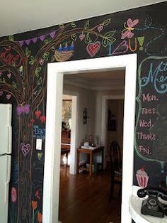Chalk Wall in kids' room Chalk Wall, Chalkboard Walls, Cute Room Ideas, Game Room Decor, Office Walls, Fine Furniture, Girl Room, Rustic Decor, Playroom