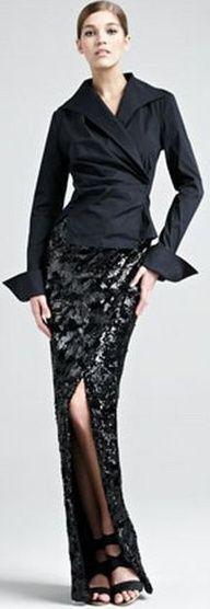 Donna Karan  Stretch-Taffeta French-Cuff Shirt & Swirl-Sequin Scissor Skirt