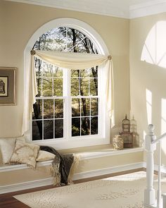 photos of window treatments for round top windows | ... Replace an Old Bow Window with a 3 Lite Double Hung and Picture Window