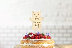 Bear Wooden Cake Topper   Birthday Cake Decortion  Personalised with Name and Age  Laser Cut Engraved  Birch Wood   Eco Friendly Sustainable