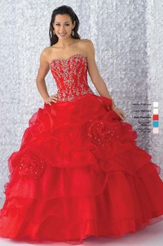 Red Flower Quinceañera Dress Sweet Sixteen Dress ... In a different color though.