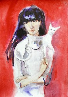 Original watercolor Girl and white cat by LittleArtSweets on Etsy