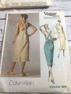 Vintage Vogue American Designer 1676 Size 8 Calvin Klein Dress #VoguePatterns Mccalls Sewing Patterns, Vogue Patterns, Simplicity Sewing Patterns, Vintage Sewing Patterns, Girl Doll Clothes, Doll Clothes Patterns, Clothing Patterns, Women's Evening Dresses, Sun Dresses