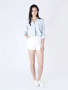 Polyester cotton shirt with foldover detail in front and open collar. Comes with full length sleeves. White Shorts, Detail, Sleeves, Cotton, Shirts, Fashion, Clothing, Moda, Fashion Styles