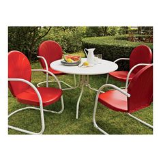 Crosley Griffith Metal Outdoor Dining Set — 5-Pc., Red Chairs, Model# 2737