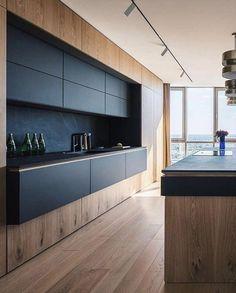 The Best Black Kitchens Kitchen Trends You Need To See 26 - kindledecor Kitchen Island Storage, Farmhouse Kitchen Island, Modern Kitchen Island, Kitchen Islands, Diy Kitchen, Kitchen Ideas, Kitchen Wood, Kitchen Living, Kitchen Decor