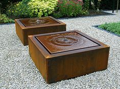 The ADEZZ Corten Steel Square Water Table is a stunning water feature manufactured from thick Corten Steel that is sure to enhance even the grandest of designs Large Garden Water Features, Modern Water Feature, Backyard Water Feature, Garden Features, Modern Fountain, Fountain Design, Rock Fountain, Diy Garden Fountains, Sensory Garden
