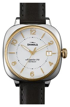 Shinola 'Gomelsky' Square Leather Strap Watch, 36mm available at #Nordstrom