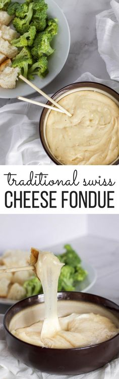 Traditional Swiss Cheese Fondue is the perfect party food! Grab your fondue pot and some friends to enjoy this delicious treat!