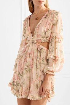 2351356fdcb Zimmermann - Prima Cutout Ruffled Floral-print Silk-georgette Mini Dress -  Peach Silk