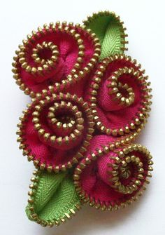 Hot Pink Abstract Floral Brooch / Zipper Pin Brass Teeth by ZipPinning 2976 by ZipPinning on Etsy