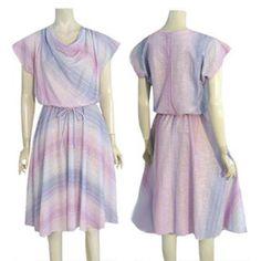 1970s Vintage  Rainbow Striped Dress Cowl Neck Full Skirt Promises Promises #PromisesPromises