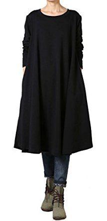 509453a02a Vogstyle Women s New Autumn Round Neck Large Hem Pullover Dress Black   Amazon.co.uk  Clothing
