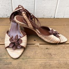 FIONI  Woven Tie Ankle Wedges FIONI tie ankle wedges perfect for summer! Woven straw fabric with faux leather trim and flower detail! Peep toe style with long faux leather straps that wrap around ankles! FIONI Clothing Shoes Wedges