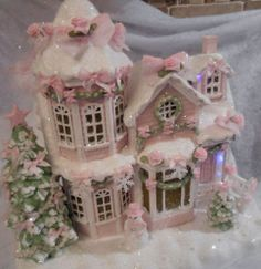 shabby pink victorian musical lighted christmas village house chic rose glitter