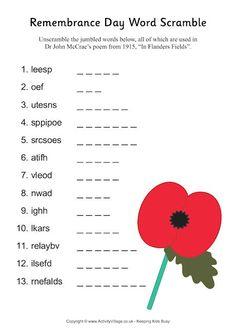 Remembrance Day word scramble pdf link