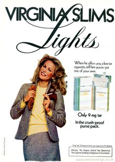""""""" These ads for Virginia Slims Lights cigarettes with a plain white background date from Vintage Cigarette Ads, Vintage Ads, Jessica Hahn, Famous Ads, Cigarette Coupons Free Printable, Virginia Slims, Plain White Background, Cosmetics & Fragrance, Retro Advertising"""
