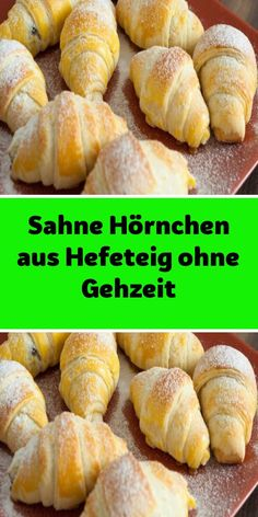Cream croissants made of yeast dough without walking time-Sahne Hörnchen aus Hefeteig ohne Gehzeit Ingredients 600 g flour 1 pack baking powder 1 tsp salt 100 ml … - Croissants, Sour Cream Biscuits, No Carb Bread, Brunch, European Cuisine, Italy Food, Pampered Chef, Hot Dog Buns, Finger Foods