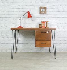 teak desk w/ hairpin legs 50s Furniture, Mid Century Furniture, Desk Inspiration, Furniture Inspiration, Hairpin Leg Desk, Hairpin Table, Small Office Desk, School Desks, Wooden Desk