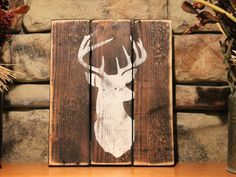 Reclaimed Wood Sign with Vintage White Deer Silhouette, Distressed, Rustic, Country, Primitive, Farmhouse Decor by AppleFarmCreations on Etsy