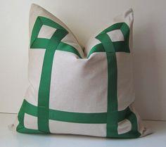 Emerald Green Ribbon Pillow Cover -