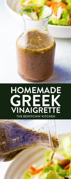 Homemade Greek Vinaigrette. This homemade salad dressing is delicious over salads or as a marinade for chicken or steak! This healthy recipe packs a clean eating punch which is approved for 21 Day Fix, 80 Day Obsession, and other Beachbody programs! Weight loss recipes made tasty! #greekvinaigrette #greekdressing #homemadesaladdressing #21dayfixrecipes #80dayobsessionrecipes via @RandaDerkson
