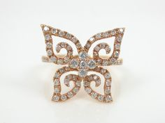 Diamond Pave Butterfly 18k Rose Gold Cocktail Ring - 0.46cts T.W – Zina Tahiri, Inc