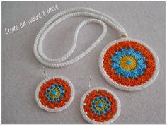 Collana e orecchini uncinetto,seguitemi su https://www.facebook.com/creareconpassioneeamore/ … #crochet #earrings #necklace #handmade #lemaddine