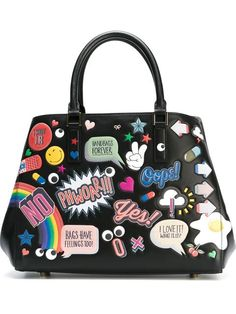 Shop Anya Hindmarch small 'All-Over Stickers Featherweight Ebury' tote in Donne Concept Store, Cagliari, Italy.