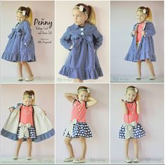 The Penny Vintage Set is a sweet coat and dress for girls sizes 1-16. The coat has a peter pan collar, is fully lined, and has a bottom #rileyblakedesigns #trendsetter #ellieinspired #vintagecoat #fancypantsdesigns