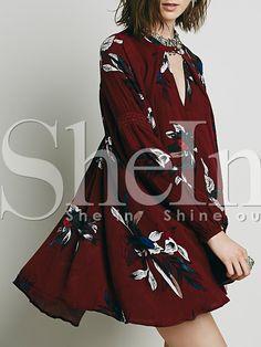 robe+fleuri+manches+longues+-rouge+bordeaux++19.39