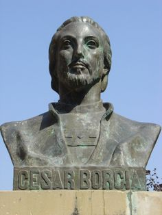 Bust of Cesare Borgia, of France, Duke of Valentinois and Romagna, Prince of Andria and Venafri, Count of Dyois, Lord of Piombino, Camerino and Urbino, Gonfalonier and Captain-General of Holy Church. Monument in Viana, Navarro, Spain.