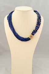 Lapis Lazuli Multistrand Necklace with a Gold Vermeil and Lapis Slide