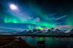 When The Moon Shines- photo by torivarn.  Aurora at the Lyngenalps in Norway.