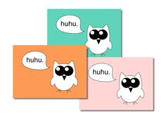 Tiere - 3er Set Postkarte Eule - ein Designerstück von Papier-Fisch bei DaWanda