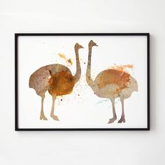 Bird print. Ostrich poster. Watercolor decor. Animal print.  Printed on high quality art paper.  SIZES:  8.3 x 11.7 (A4) 11.7 x 16.5 (A3)  This