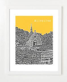 Milwaukee Wisconsin City Skyline Print  Joan of by BugsyAndSprite