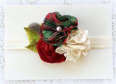 Christmas Headband - Baby Girls Headband - Red and Green Plaid Headband. $15.75, via Etsy.