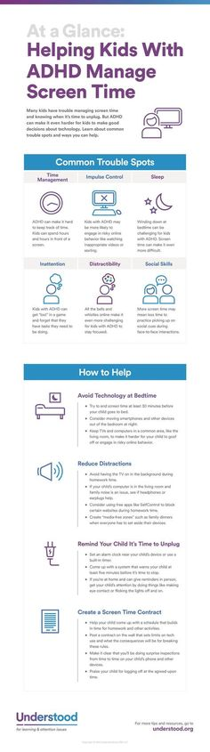 Learn about ADHD symptoms and technology issues in children. Find ways to help your child with ADHD manage screen time. Get online safety tips that are tailored for kids with ADHD.
