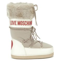 Love Moschino Women's Stivaletto Moon Boots (11.360 RUB) ❤ liked on Polyvore featuring shoes, boots, beige, faux-fur boots, leather shoes, beige boots, beige leather boots and leather lace up boots