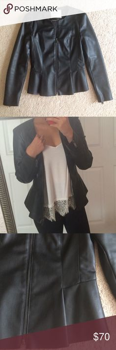Zara Faux Leather Jacket - Excellent condition!! Used 2-3 times. Only selling because I don't reach for it often, but it's very cute/classy! - Faux leather jacket features a peplum style and zippered wrists - Removed internal tag for comfort purposes (see last photo)  Let me know if you have any questions :) Zara Jackets & Coats