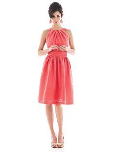 Halter Knee Length Satin Bridesmaid Dress