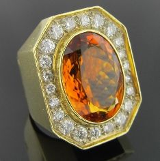 Ferro Jewelers - Estate Jewelry | CITRINE AND DIAMOND COCKTAIL RING