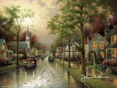 Hometown Morning by Thomas Kinkade