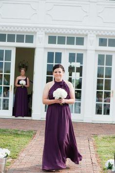 Bridesmaid...eggplant purple bridesmaid dress, white hydrangea bouquet