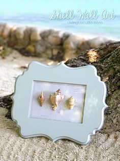 How to make easy wall art with shells from your beach vacation. LivingLocurto.com #BHGSummer