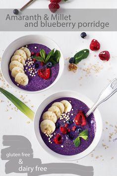 Simple amaranth and millet blueberry porridge (gluten free & dairy free) Vegan Dessert Recipes, Vegan Breakfast Recipes, Vegan Sweets, Raw Food Recipes, Vegan Food, Free Recipes, Amaranth Recipes, Millet Recipes, Food Sensitivity Testing