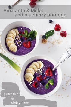 Simple amaranth and millet blueberry porridge (gluten free & dairy free)