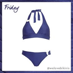 figleaves swimwear Riviera Rib Soft Cup Triangle Bikini Top Set in Navy #BikiniOfTheDay #Friday #figleaves