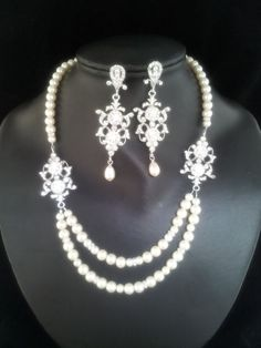 Anitta Swarovski crystal double strand pearl necklace